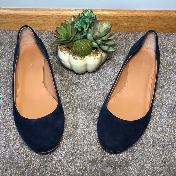 J. Crew | Blue Suede Slip-On Small Heel Shoes 7